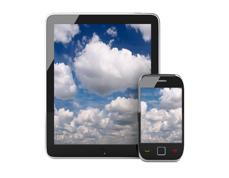Photograph of tablet PC and smartphone displaying clouds
